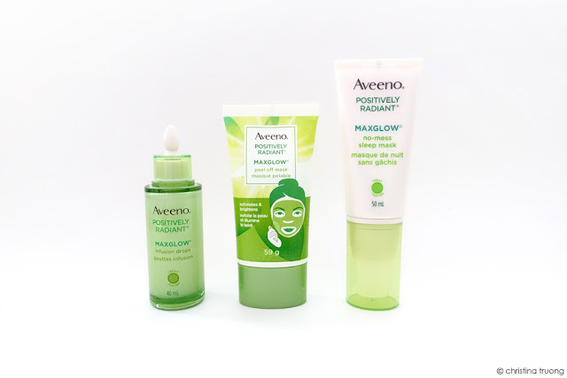 Aveeno Positively Radiant Maxglow Infusion Drops, No-Mess Sleep Mask, Peel Off Mask Skincare Review