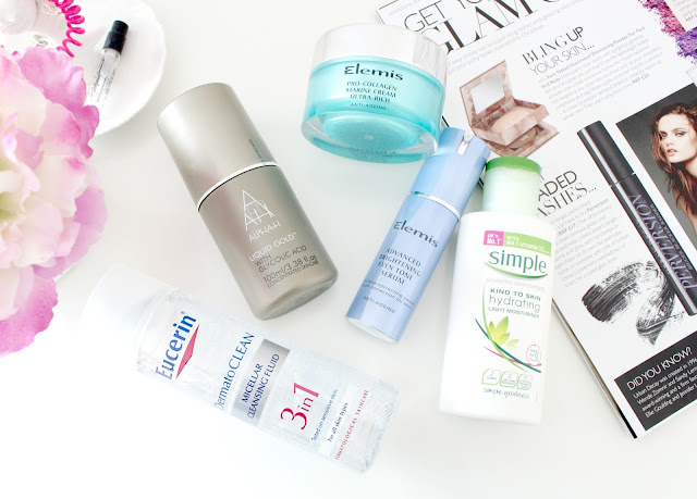 Current Skincare Favourites, Favourite Skincare Products, My Skincare Routine, Elemis, Alpha H Liquid Gold, Simple Skincare, Eucerin 3 in 1 Micellar Cleansing Fluid