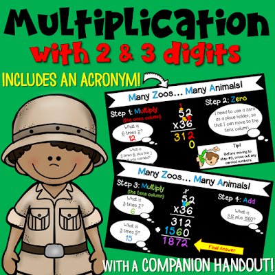Teach the steps of multi-digit multiplication with this introductory PowerPoint! The acronym will help students remember the steps.