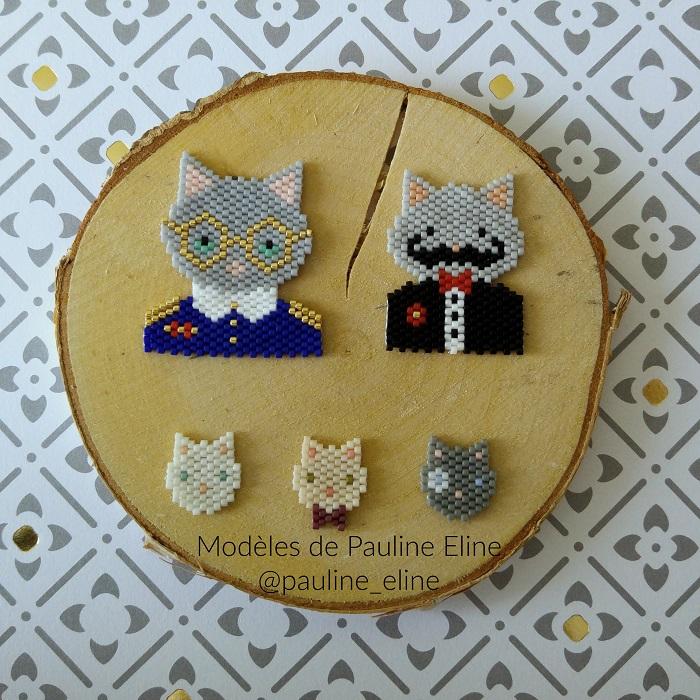 chats pauline eline, tissage brickstitch, perles delicas miyuki, hellocestmarine