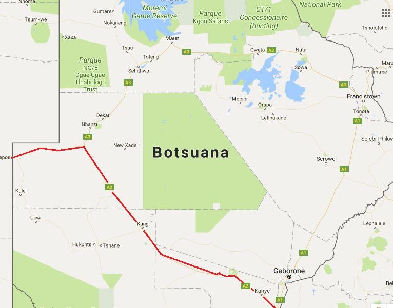Desierto De Kalahari Mapa.Cruzar Botsuana En Coche Por El Desierto De Kalahari