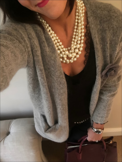 My Midlife Fashion, La Bante Cabriole tote, h&m mohair cardigan, J Crew twisted pearl necklace