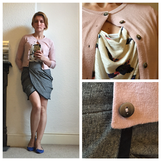 H&M Top, Boden Cardigan, Warehouse Skirt, Zara Shoes
