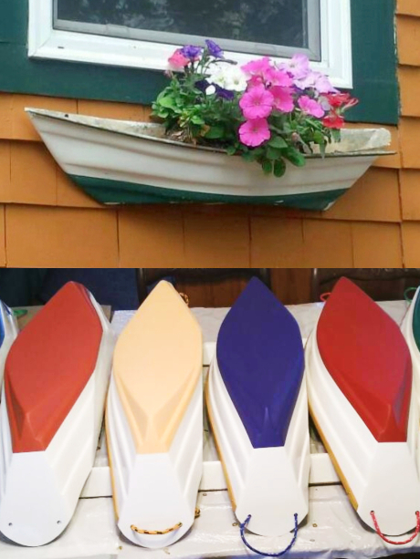 Painted Wood Boat Wall Planters
