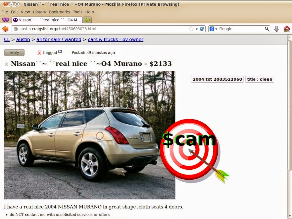 Vehicle Scams - Google Wallet, Ebay Motors, Amazon Payments ,EBillme ...