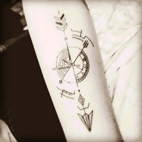 ok dövmeleri compass arrow tattoos