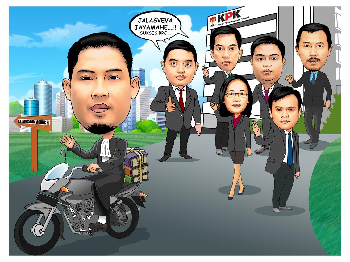 PESAN KARIKATUR MURAH Karikatur Perpisahan Teman Pimpinan Kantor