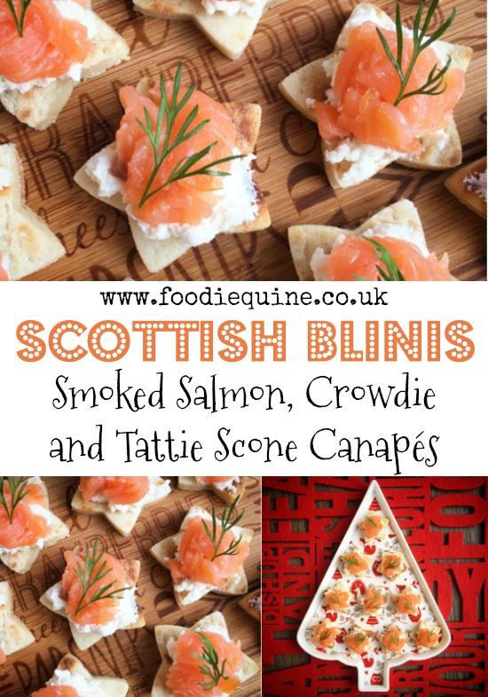 www.foodiequine.co.uk Scottish produce combines to make a canape with a twist. Smoked Salmon, Crowdie and Tattie Scone Stars are an effortless yet sophisticated Scottish nibble, perfect for Christmas, Hogmanay, Burns Night or St Andrew's Day.