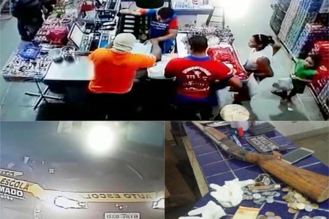 Bandidos assaltam supermercado em Sussuarana, roubam carro com reféns e troca de tiros com PM