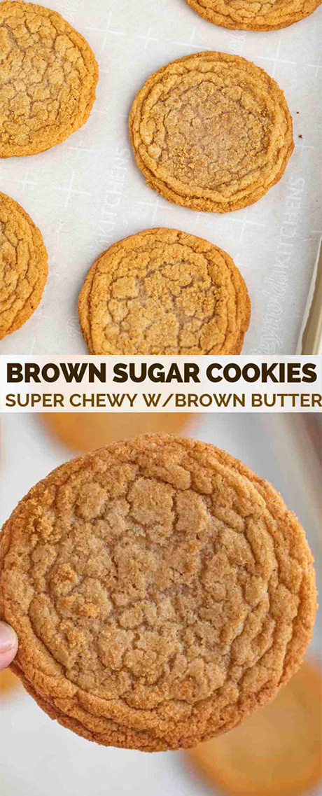 Brown Sugar Cookies made with dark brown sugar and butter are sweet, soft, chewy, and the PERFECT spin on the traditional cookie ready in under 30 minutes! #cookies #dessert