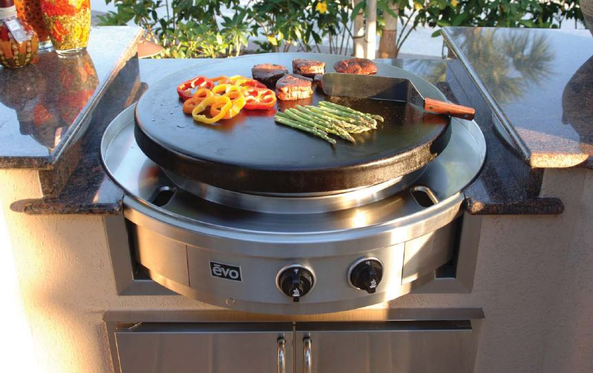 Mode Concrete Evo Round Cooking, Round Flat Top Grill For Outdoor Kitchen