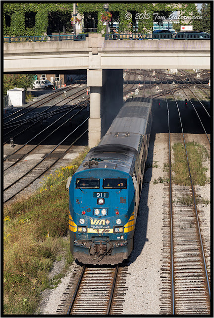 VIA 911 leads Train 87 west on the Toronto Union Station Rail Corridor