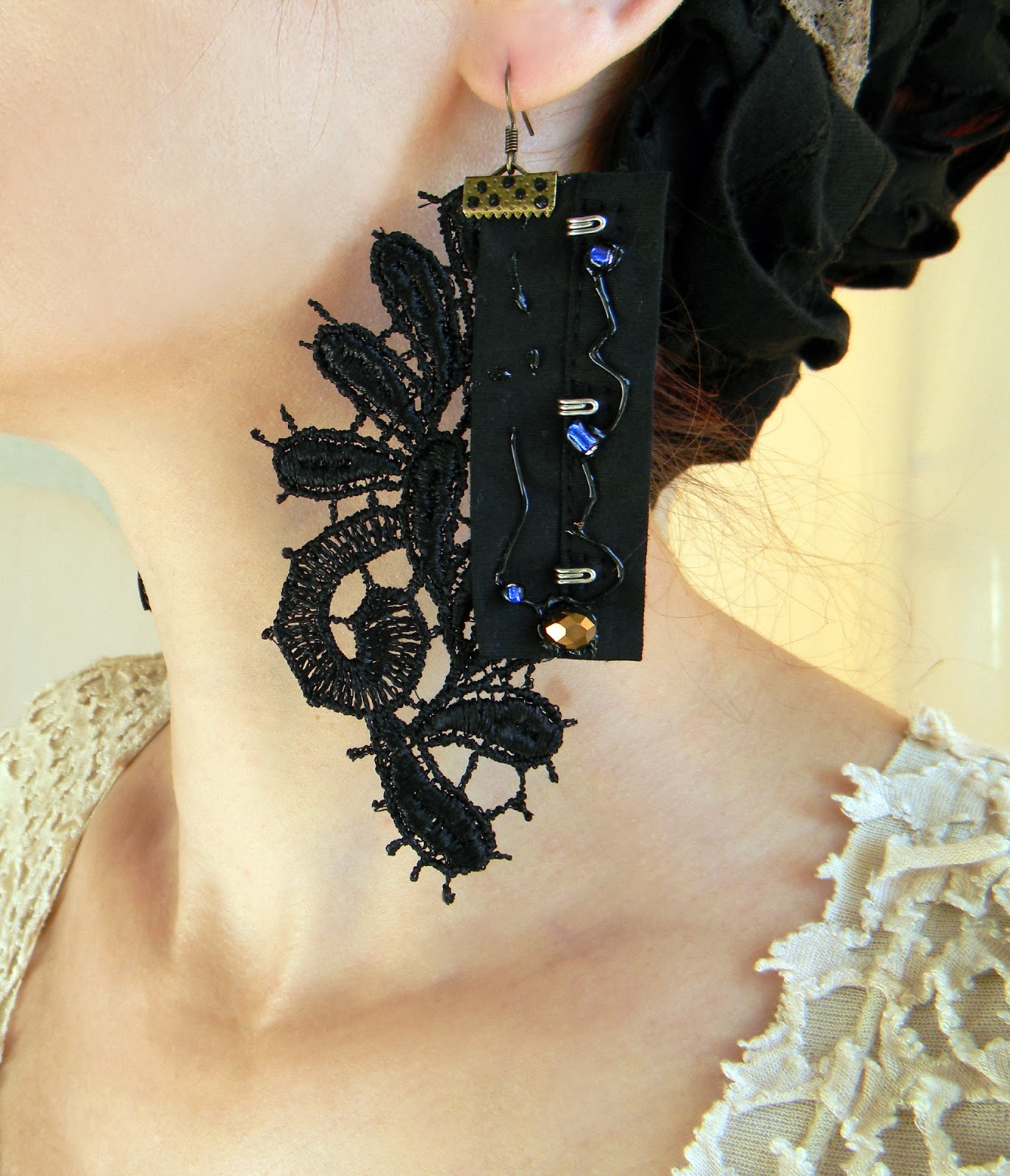Lace Textile Earrings Dark Gothic Long Earrings Steampunk Couture Jewelry