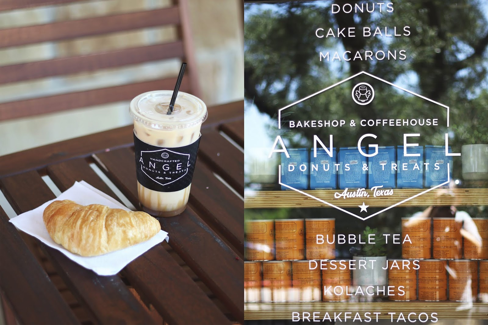 Angel Donuts and Treats Austin, Iced Coffee, Cozy Coffee Shop, Coffee Shops Vibe