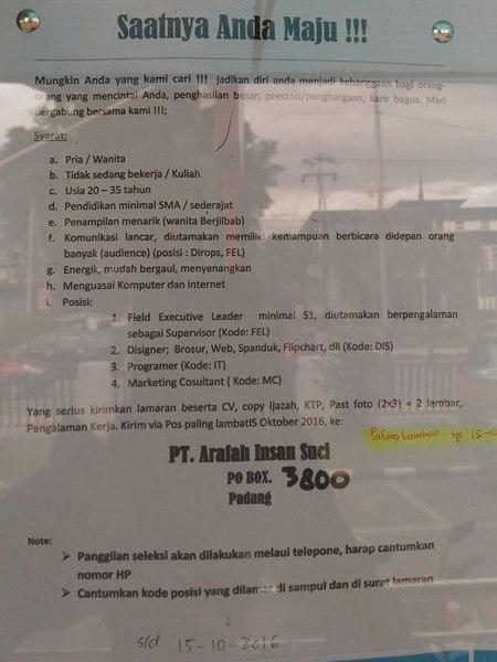 Lowongan Kerja di Padang – PT.Arafah Insan Suci – 4 Posisi – (Penutupan 15 Okt.2016)