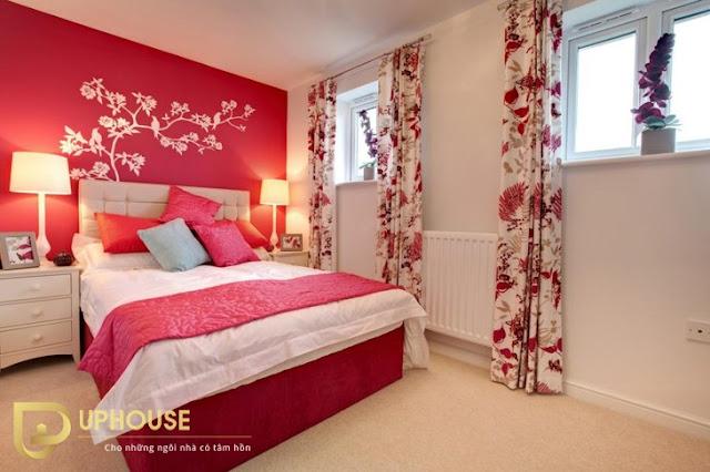 Phòng ngủ màu hồng trắng 06