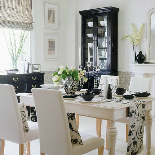 Comedores en color blanco y negro ideas para decorar for Comedor gris y blanco