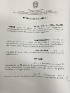 Procuradoria Geral do Município consegue suspensão de Prazos processuais