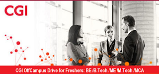CGI OffCampus Drive for Freshers 2015/2016 Batch: BE /B.Tech /ME /M.Tech /MCA