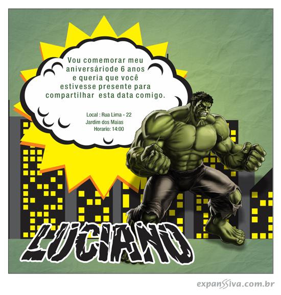 convite hulk desenho
