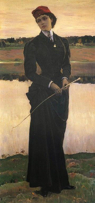 Mulher em um Traje de Montar - Pinturas de Mikhail Nesterov - (Simbolismo) Russo