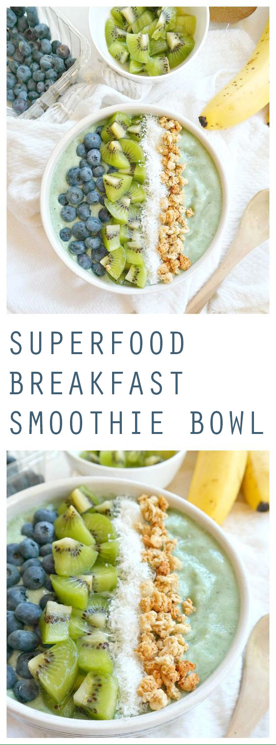 Vegan & Gluten Free Superfood Breakfast Smoothie Bowl