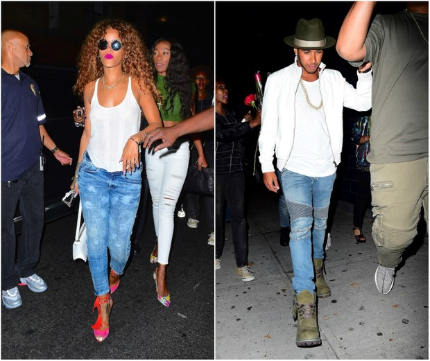 Rihanna and Lewis Hamilton are seen leaving the same nightclub. It's happening
