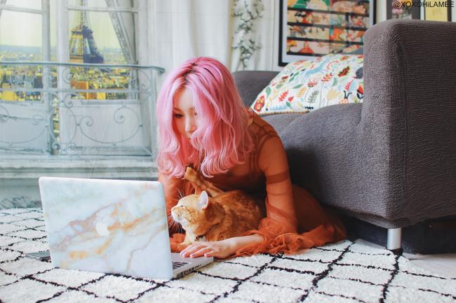 Japanese Fashion Blogger,MizuhoK,Tech:: Uniqfind VANILLA MARBLE MACBOOK SKIN Macbook Pro Non-Retina 13inch with @Oscar_kyun