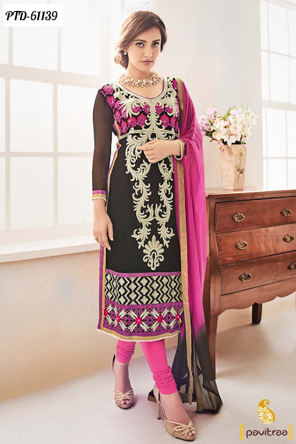 Neha Sharma black color georgette long straight cut bollywood salwar suit