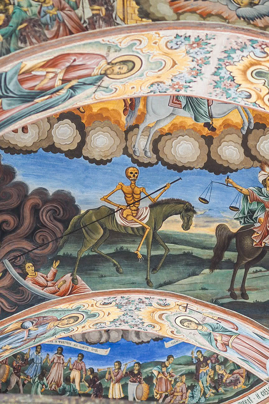 Death in a fresco in Rila Monastery, Bulgaria