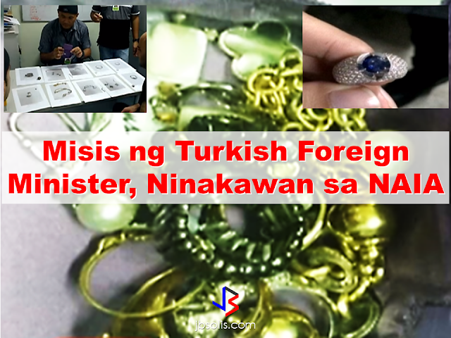 Expensive jewelries were recovered from the three baggage handlers in NAIA who were caught pilfering the baggage belonging to the wife of Turkish Foreign Minister Mevlüt Çavuşoğlu who visited the country last week to attend ASEAN Foreign Ministers meeting. The robbery took place while transferring the baggages from NAIA terminal to the plane, according to the suspects. The suspects narrated that they took the jewelries from the baggage compartment while loading it to the plane. The robbery suspects were also caught with sachets of alleged shabu during the operation conducted by the Aviation Security Group. They apprehended the suspects who were still in possession of the stolen jewelries. According to MIAA General Manager Ed Monreal, the jewelries were found inside the compartment under the seat of the suspect's motorcycle. The suspects were under surveillance for quite some time due to the reported robbery on the passengers baggage and finally caught red handed and are now under the custody of the authorities and case were filed against them.  The NAIA authorities fervently remind the passengers not to keep their valuables on their check-in baggages even strict monitoring on the baggage handlers is in effect due to the reported pilferage on the passenger baggages. The tightened measures are being observed especially now that the delegates of the ASEAN meeting are still in the country.   Read More:  China's plans to hire Filipino household workers to their five major cities including Beijing and Shanghai, was reported at a local newspaper Philippine Star. it could be a big break for the household workers who are trying their luck in finding greener pastures by working overseas  China is offering up to P100,000  a month, or about HK$15,000. The existing minimum allowable wage for a foreign domestic helper in Hong Kong is  around HK$4,310 per month.  Dominador Say, undersecretary of the Department of Labor and Employment (DOLE), said that talks are underway with Chine
