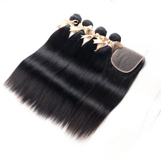 REMY HAIR丨4 BUNDLES STRAIGHT HAIR WITH 4X4 LACE CLOSURE丨NATURAL BLACK