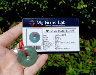 Liontin Giok Jadeite Jade Type A JDT017 Origin Burma Memo My Gems Lab