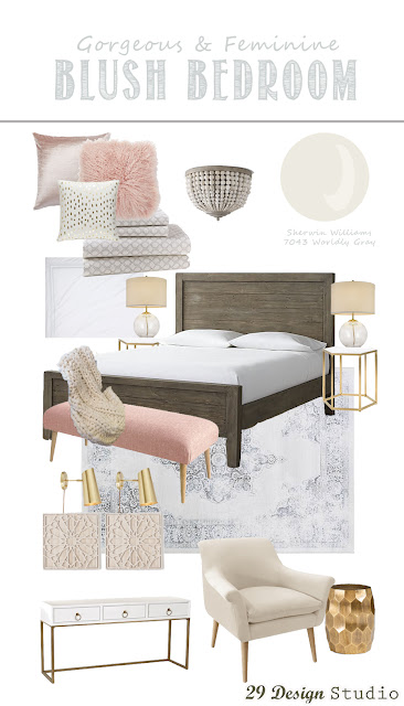 Modern Blush and Gray Bedroom Design