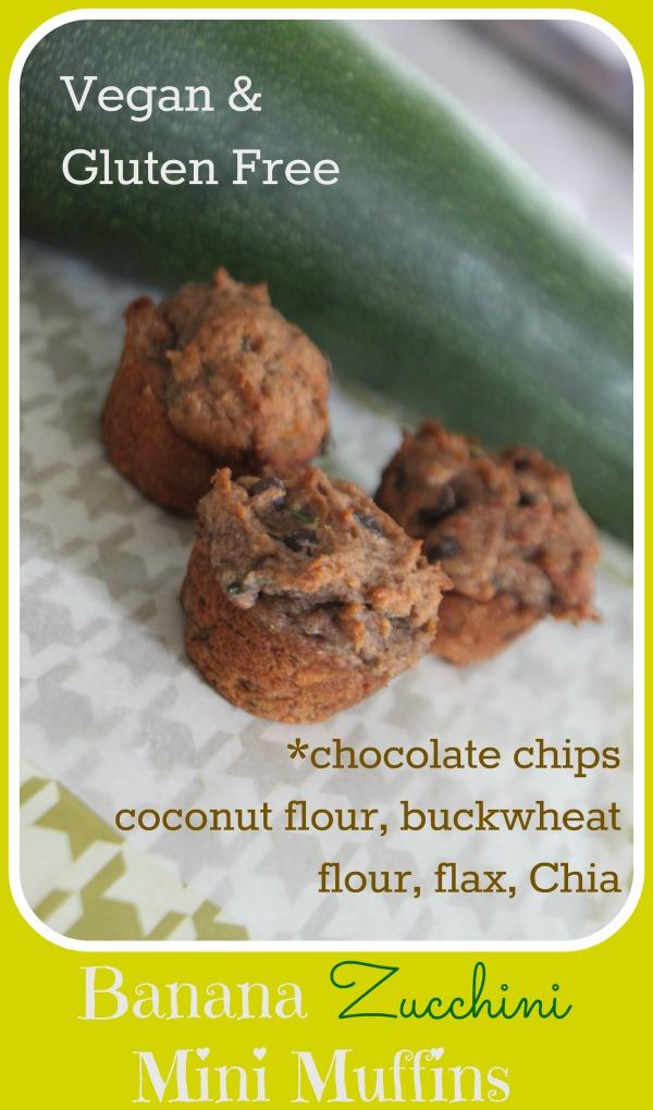 Mini Banana Zucchini Chocolate Chips Muffins Gluten And Nut Free And Vegan