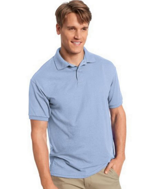 Hanes 054X Mens Comfortblend Jersey Polo -Light Blue – L