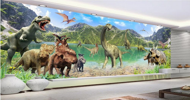 Dinosaur wall mural modern wallpaper 3d photo wallpaper murals Kids Room bedroom Jurassic landscape