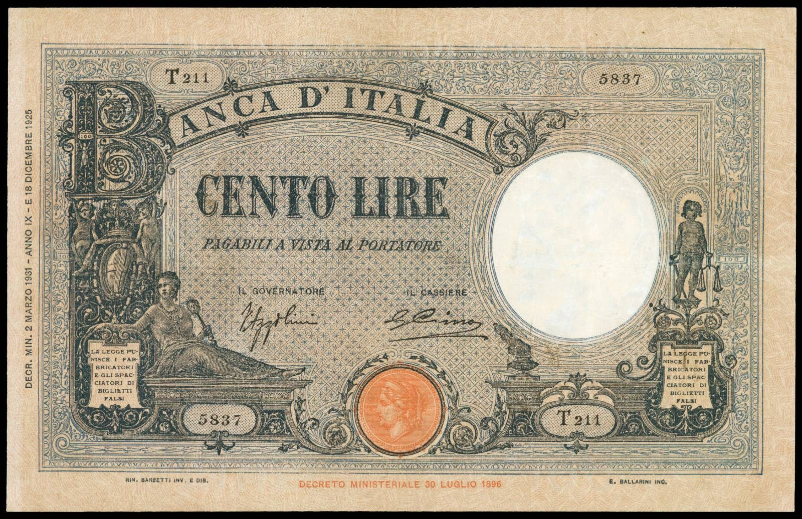 Italy 100 Lire banknote 1931