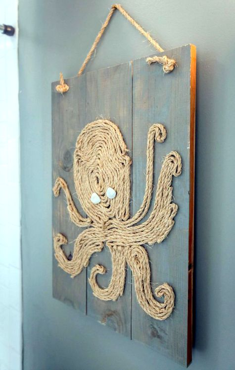 Rope Octopus on Wood Panel Wall Art