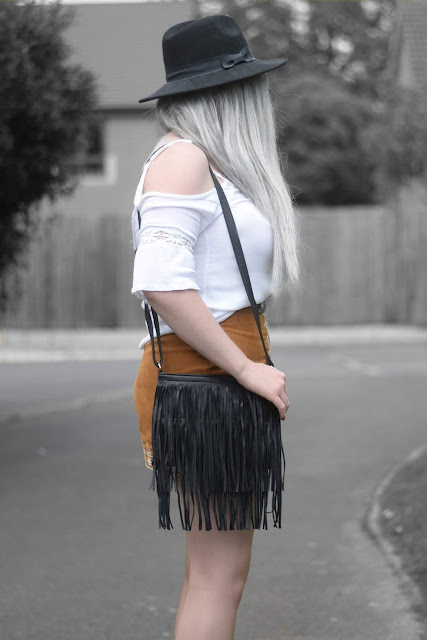 Sammi Jackson - Primark Black Fedora / Zaful Sunglasses / Boohoo Off Shoulder Top / Choies Double Buckled Belt / Sammydress Embroidered Suede Skirt / Romwe Fringed Bag / Missguided Buckled Ankle Boots