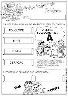 Atividades letras do alfabeto Projeto Folclore