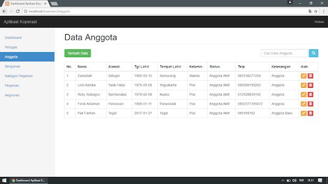Pengelolaan Data Anggota Koperasi Simpan Pinjam (Pengelolaan Data : Tampil, Tambah, Edit, Cari, Hapus)