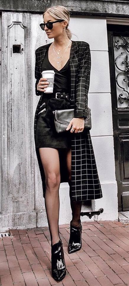 amazign fall outfit / plaid coat + boots + bag + top + black skirt