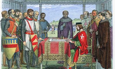 Средневековый гобелен. Иоанн Безземельный подписывает Великую Хартию Вольностей