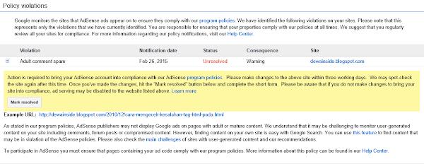 Bahaya Komentar Spam Link Situs Dewasa bagi Google Adsense