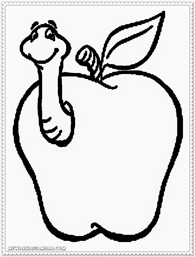 Apple And Worm Coloring Pages