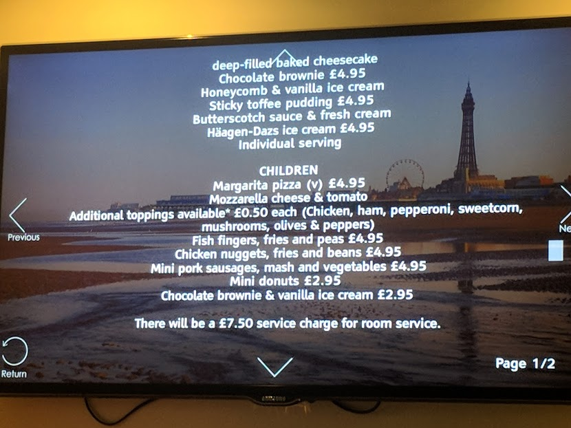 The Big Blue Hotel Blackpool | Pleasure Beach Package & Deluxe Family Room Review  - room service menu