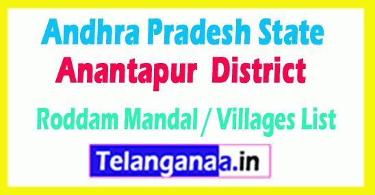 Roddam Mandal Villages Codes Anantapur District Andhra Pradesh State India