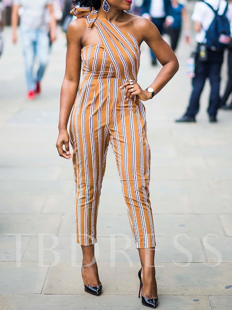 Date Night Stripe Mid-Calf Slim Women's Jumpsuit