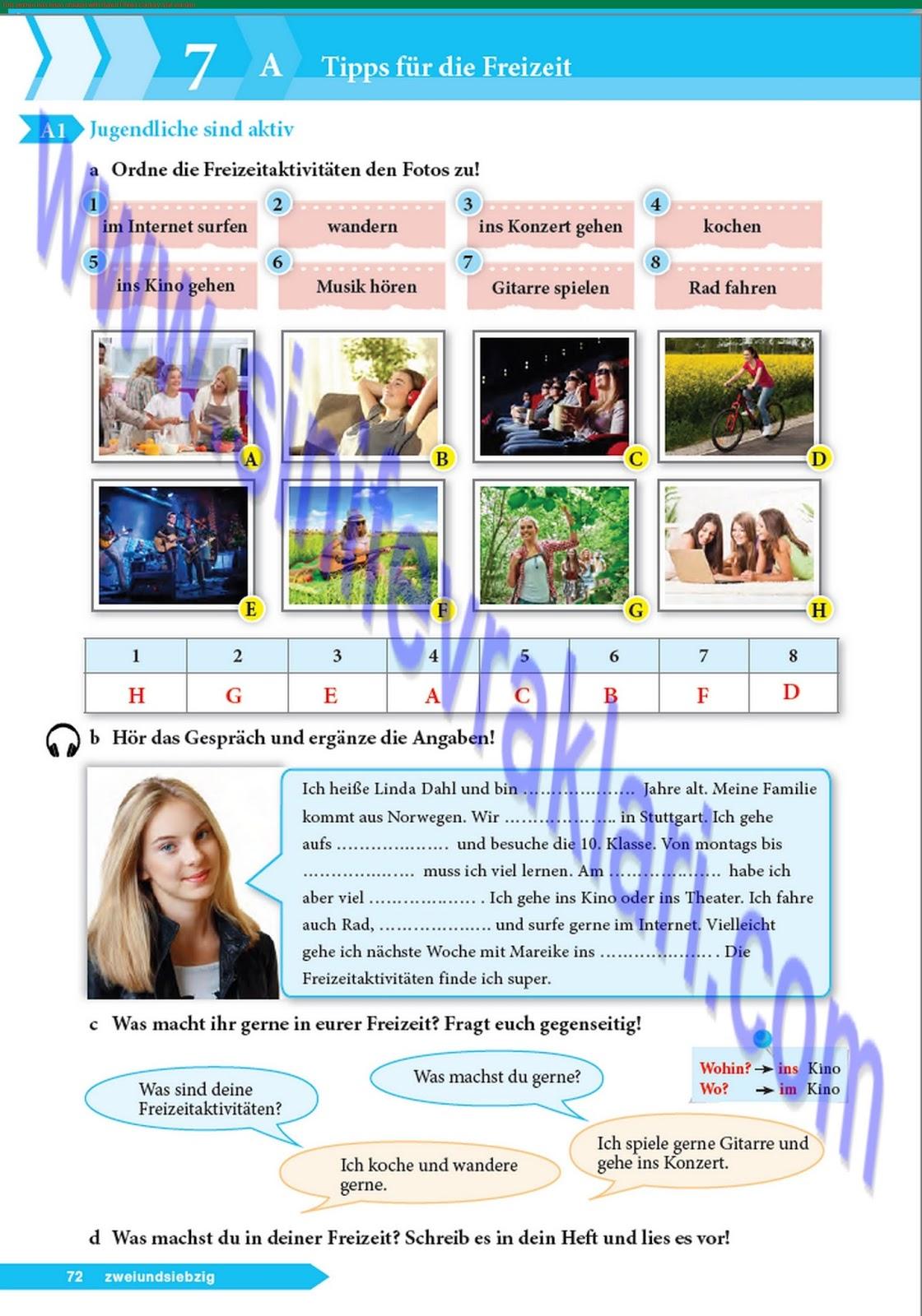 9 Sınıf Almanca A11 Ders Kitabı Cevapları Sayfa 72 Ders Kitabı